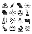 Black and white laboratory chemistry icon set vector image