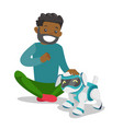 black man playing with dog robot vector image vector image
