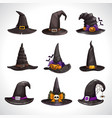 cartoon black witch hats icons set wizard hat vector image vector image