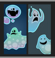 cartoon spooky ghost character scary cards monster vector image vector image