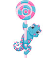 chameleon with candy vector image vector image