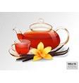 composition of a glass cup and tea pot with tea vector image vector image