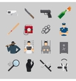 Crime flat icons vector image