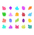 crystal color silhouette icons set vector image