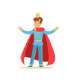 cute boy prince in a golden crown and red cloak vector image vector image