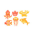 cute friendly sea creatures set underwater vector image vector image