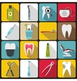 Dental care icons set flat style vector image vector image