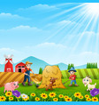 farmers activities with animal on the farm vector image
