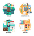 flat colorful office elements collection vector image