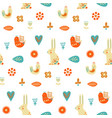 folk art seamless pattern with rabbit bird vector image