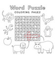 funny animals coloring book word puzzle vector image vector image