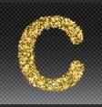 gold glittering letter c shining golden vector image