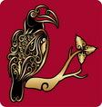 Golden bird ornament 2 vector image vector image