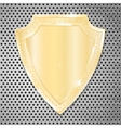 Golden shield on perforated background vector image vector image