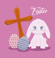 happy easter day card with cute rabbit and cross vector image