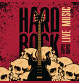 hard rock banner with guitar and human skulls vector image vector image