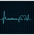 heartbeat make a healthcare text and heart symbol vector image