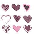 hearts icon set vector image vector image