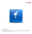 juice icon cocktail drink icon - 3d blue button vector image