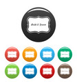 just married label icons set color vector image vector image
