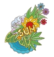 label with sea sun leaves and flowers vector image