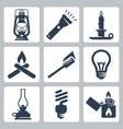 light and lighting appliances icons set lantern vector image