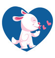 light pink dog throwing kisses in blue heart on vector image