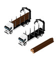 logging truck isometric view isolated on white vector image vector image
