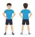 man playing sport with blue and black sportswear vector image vector image
