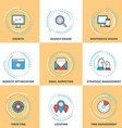 Modern Line Icons Set Growth Search Engine vector image