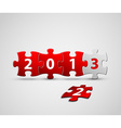 New Year 2013 card made from red and white puzzle vector image