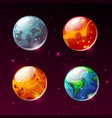 planets in space galaxy cartoon vector image