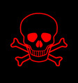 red skull and crossbones vector image vector image