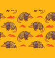 seamless pattern with cute cartoon armadillo vector image