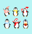 Set cute penguins in winter