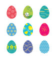 set easter eggs isolated in white background vector image