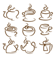 set icon of cupteapotpot vector image