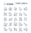 set line icons food labels vector image vector image