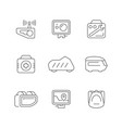 set line icons motorcycle accessories vector image