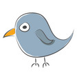 simple cartoon a blue sparrow on white vector image vector image