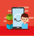smartphone man reload blockchain vector image vector image