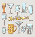 stemware hand drawn glasses vector image vector image