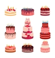 sweet baked isolated cakes set vector image vector image