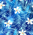 tropical palms seamless pattern in blue vector image vector image