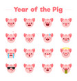 year of the pig flat cartoon character emoji vector image vector image
