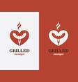 grill bbq hotdog love symbol fast food logo vector image