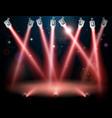 red spotlights background vector image