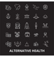 alternative health editable line icons set vector image