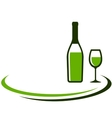 background with white wine bottle and glass vector image vector image