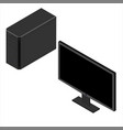 black personal computer case and monitor vector image vector image